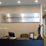 Interior, Architectural, Sign, stand off, acrylic, brushed aluminum, Business signs, Custom sign